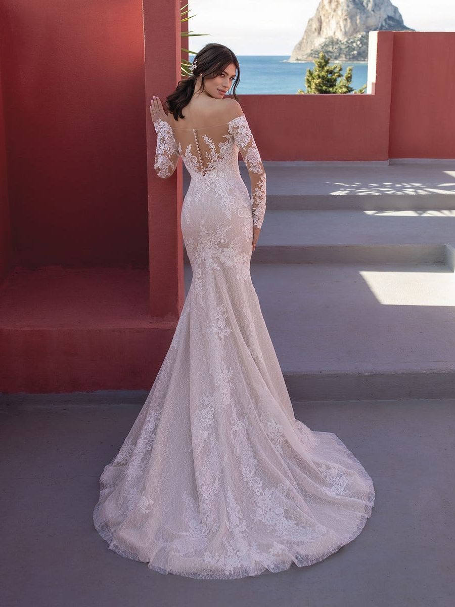 Geborduurde tule trouwjurk met zeemeermin-silhouet lange mouwen